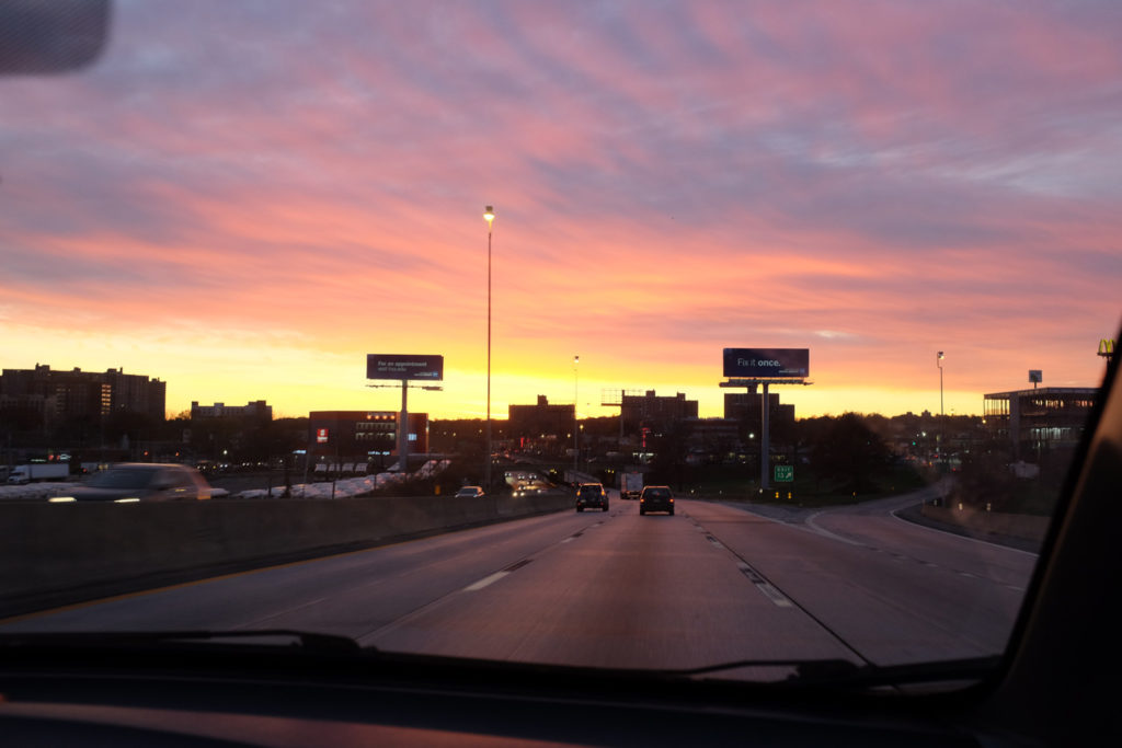 Sunset, returning to New York