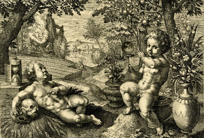 Raphael Sadeler. Allegory of transitoriness. Landscape with two naked youths, one sitting on an urn and blowing a soap bubble, the other lying asleep with his arm on a skull near an hour-glass; after Maarten de Vos. British Museum 1937,0915.158