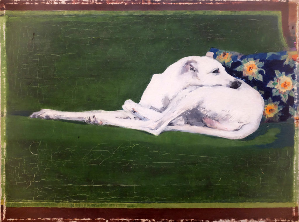 Joe Brainard, Untitled (Whippet on green couch, aka Whippoorwill), 1973, Tibor de Nagy gallery