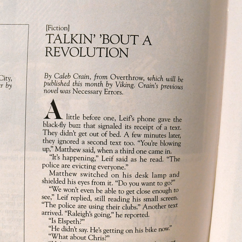 Excerpt from 'Overthrow' by Caleb Crain in August 2019 Harper's