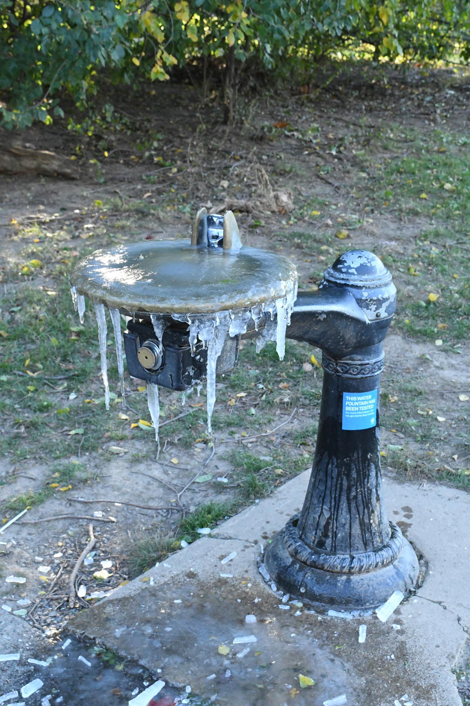 Water fountain, frozen, Prospect Park